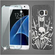 Insten Sword  Skull Leather Case Cover For Samsung Galaxy S7 - Black/White (with Tempered Glass Protector)