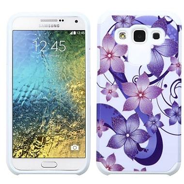 Insten Hibiscus Flower Romance Hard Hybrid Rubber Silicone Case For Samsung Galaxy E5 - Purple/White