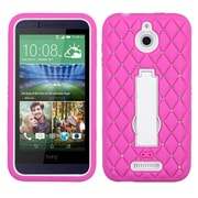 Insten Symbiosis Skin Hybrid Shockproof Rubber Hard Case with Stand/Diamond For HTC Desire 510 - Pink/White