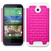 Insten Hot Pink/Solid White FullStar Hybrid Hard Shockproof Silicone Dual Layer Protective Back Case For HTC Desire 510