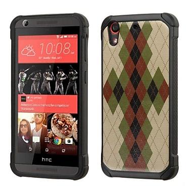 Insten Argyle Hard Hybrid Rugged Shockproof Silicone Cover Case For HTC Desire 626/626s - Brown/Black