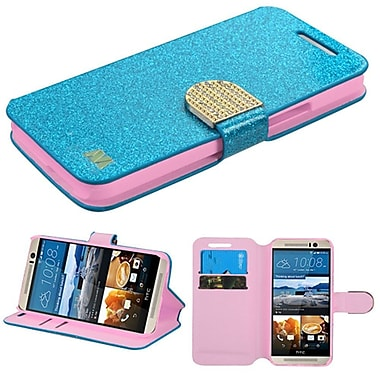 Insten Folio Leather Glitter Cover Case With Stand/Card Holder/Diamond For HTC One M9, Blue/Gold (2092388)