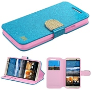 Insten Folio Leather Glitter Cover Case w/stand/card holder/Diamond For HTC One M9 - Blue/Gold