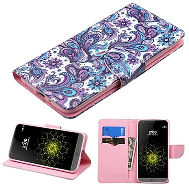 Insten European Flowers Folio Leather Fabric Case With Stand And Card Slot For LG G5, Purple/White (2234570)