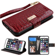 Insten Folio Leather Crocodile Case Lanyard w/stand/card slot/Photo Display For Apple iPhone 6 Plus/6s Plus - Burgundy