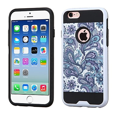 Insten European Flowers Hard Dual Layer Rubber Coated Silicone Case For Apple iPhone 6 / 6s - Purple/White