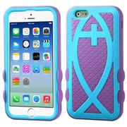 """Insten Hard Hybrid Rugged Shockproof Silicone Case For iPhone 6S 6 4.7"""" - Light Blue/Hot Pink"""