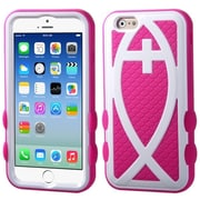 """Insten Hard Hybrid Rugged Shockproof Rubberized Silicone Case For iPhone 6S 6 4.7"""" - White/Pink"""