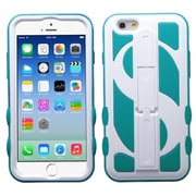 Insten Dollar Hard Hybrid Rubber Coated Silicone Cover Case with Stand For Apple iPhone 6 6S - Blue/White