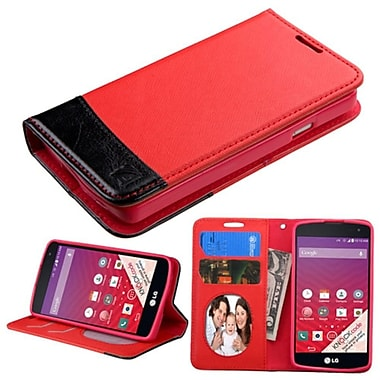 Insten Folio Leather Fabric Cover Case With Stand/Card Holder/Photo Display For LG Optimus F60, Red/Black (2121074)