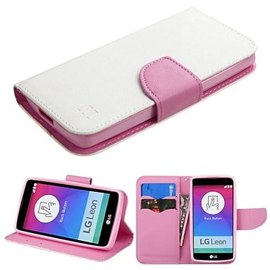 Insten Flip Leather Fabric Cover Case With Stand/Card Slot For LG Leon, White/Pink (2117640)