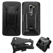 Insten Hard Hybrid Rugged Shockproof Plastic Silicone Case w/Holster For LG Leon - Black