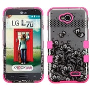 Insten Black Lace Flowers/Pink TUFF Hybrid Hard Shockproof Case For LG Optimus Exceed 2 VS450PP Verizon
