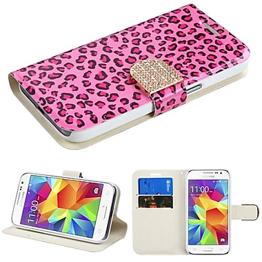 Insten Book-Style Leather Fabric Case w/stand/card slot/Diamond For Samsung Galaxy Core Prime - Hot Pink/Black