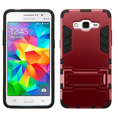 Insten Hard Hybrid Rubber Coated Silicone Case with Stand For Samsung Galaxy Grand Prime - Red/Black