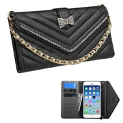 Insten Folio Leather Fabric Cover Case Chain w/card slot/Diamond For Apple iPhone 6 - Black