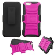 Insten Hard Hybrid Shockproof Plastic Silicone Cover Case w/Holster For Apple iPhone 6 6S - Hot Pink/Black