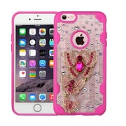 Insten Luxury Butterfly 3D Crystal Diamond Bling Diamante Hard Case Cover for iPhone 6s Plus / 6 Plus - Clear/Hot Pink