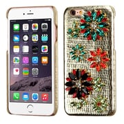 Insten Flowers Leather 3D Fabric Hard Cover Case w/Diamond For Apple iPhone 6s Plus / 6 Plus - Gold/Colorful