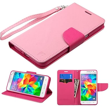 Insten Book-Style Leather Fabric Case Lanyard w/stand/card slot For Samsung Galaxy Grand Prime - Pink