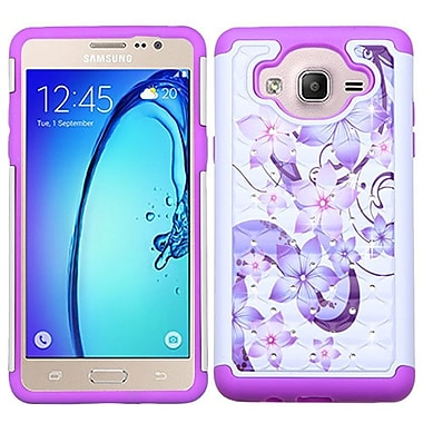 Insten Hibiscus Flower Romance Hard Dual Layer Rubberized Silicone Case w/Diamond For Samsung Galaxy On5 - Purple/White