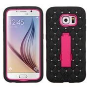 Insten Symbiosis Soft Dual Layer Rubber Hard Case w/stand/Diamond For Samsung Galaxy S6 - Black/Hot Pink