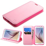 Insten Book-Style Leather Fabric Case w/stand/card holder For Samsung Galaxy S6 - Pink