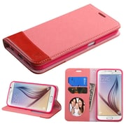 Insten Book-Style Leather Fabric Cover Case w/stand/card holder/Photo Display For Samsung Galaxy S6 - Pink/Red