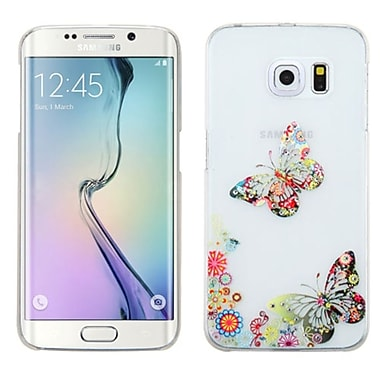 Insten Butterfly TPU 3D Case For Samsung Galaxy S6 Edge, White/Colourful (2119542)