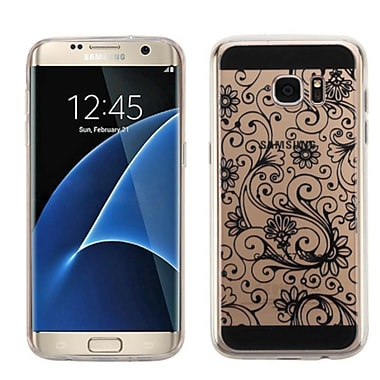 Insten Four-Leaf Clover Gel Cover Case For Samsung Galaxy S7 Edge, Black (2229187)