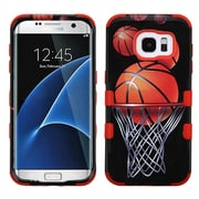 Insten Basketball Hoop Hard Hybrid Rubberized Silicone Case For Samsung Galaxy S7 Edge - Black/Orange