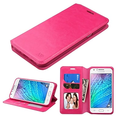 Insten Swivel Wallet Leather Case with Card slot & Photo Display For Samsung Galaxy J7 (2015) - Hot Pink