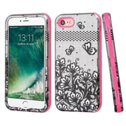 Insten Lace Flowers 3-Layer Hybrid Case Cover For Apple iPhone 7 - Black/Pink