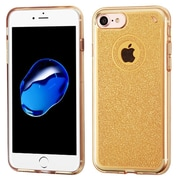 Insten Transparent Gold Bling Glitter Flexible TPU Rubber Skin Case For Apple iPhone 7
