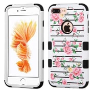 Insten Pink Fresh Roses/Black TUFF Hybrid Dual Layer Phone Case Cover for Apple iPhone 7 Plus