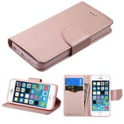 Insten Book-Style Leather Fabric Case w/stand/card slot For Apple iPhone SE / 5 / 5S - Rose Gold