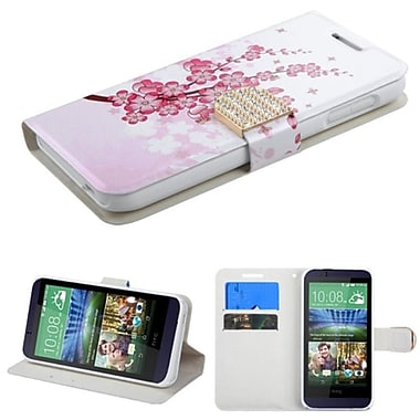 Insten Spring Flowers Book-Style Leather Fabric Case w/stand/card slot/Diamond For HTC Desire 510 - White/Pink