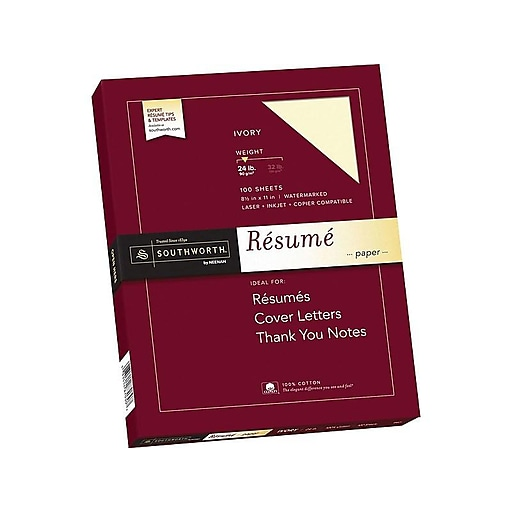 Southworth 85 X 11 Resume Paper 24 Lbs Wove 100 Box R14ICF