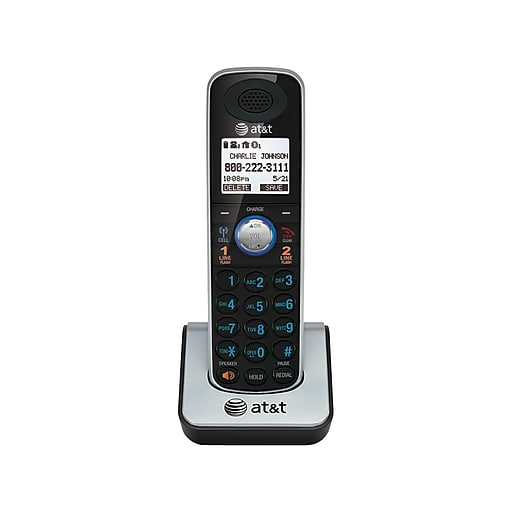 AT&T TL86009 2-Line Cordless Expansion Phone for TL86109, Silver/Black