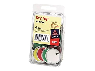 Avery Split Ring 1-Key Tags, Multicolor, 50/Pack