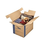 "Bankers Box Smoothmove 24"" x 18"" x 18"" Moving Boxes, ECT 32, Blue/Kraft, 6/Bundle (0062901)"