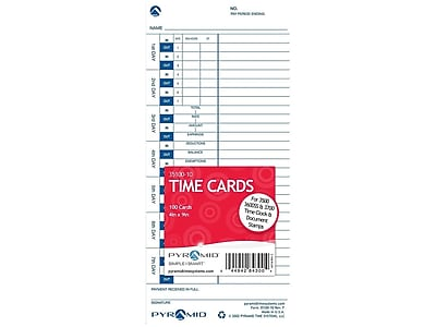 TOP1291 Tops Time Card for Pyramid Model 331-10