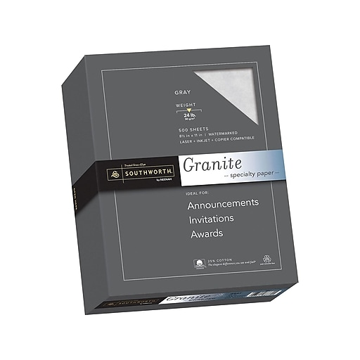 Southworth Granite 85 X 11 Specialty Paper 24 Lbs Smooth 500 Box 914C