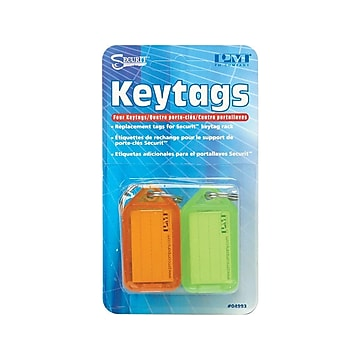SecurIT Key Tags, Assorted Colors, 4/Pack (04993)