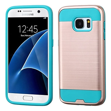 Insten Verge Hard Hybrid Rubber Silicone Cover Case For Samsung Galaxy S7, Rose Gold/Teal (2235466)
