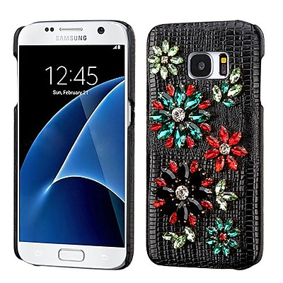 Insten Flowers Leather 3D Fabric Hard Cover Case w/Diamond For Samsung Galaxy S7 - Black