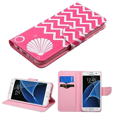Insten Shell Book-Style Leather Fabric Case With Stand/Card Holder For Samsung Galaxy S7 Edge, Pink/White (2234586)