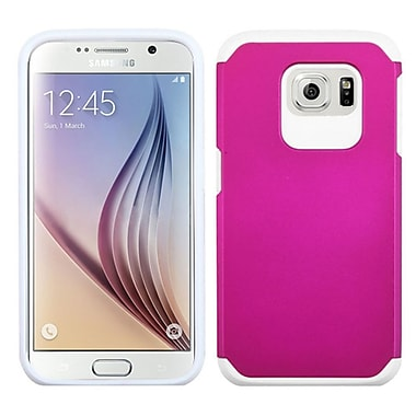 Insten Hard Hybrid Rugged Shockproof Rubber Coated Silicone Cover Case For Samsung Galaxy S6, Hot Pink/White (2092082)