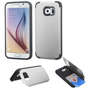 Insten Hard Silicone Case w/card slot For Samsung Galaxy S6 - Silver/Black