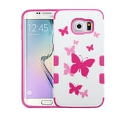 Insten Tuff Merge Butterfly Dancing Hard Case For Samsung Galaxy S6 Edge - Hot Pink/White